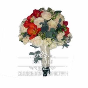 весільний букет нареченої із троянди ,фрезії,гортензії