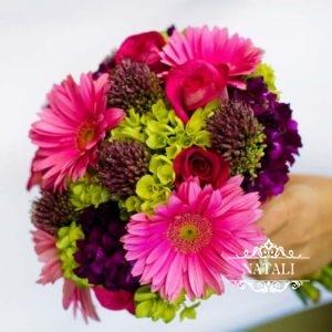 свадебный букет из гербер, роз, гортензии
