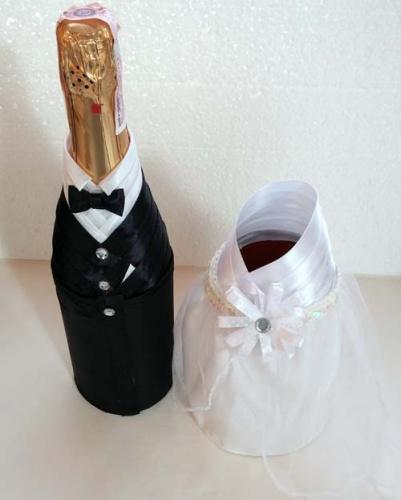 Свадебный декор шампанского жених и невеста