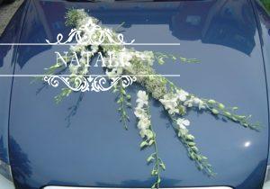 украшение свадебной машины орхидеями