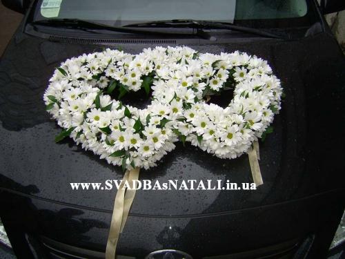 Украшение на свадебную машину из живых цветов