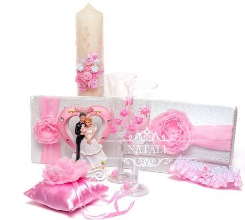 свадебный набор аксессуаров в нежно-розовом цвете