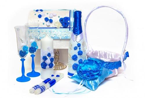 Свадебный набор аксессуаров в синем цвете