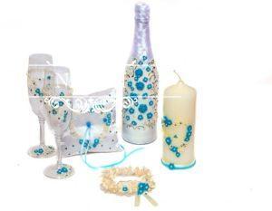 Свадебный набор аксессуаров в бирюзовом цвете