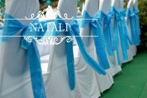 Праздничные чехлы с голубыми бантами в Киеве