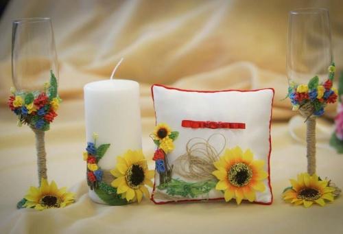 Набор свадебных аксессуаров с подсолнухами