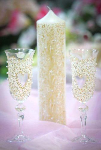 свадебные бокалы и свечи ручная роспись