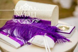 Сундучок для сбора денег на свадьбу с фиолетовой лентой