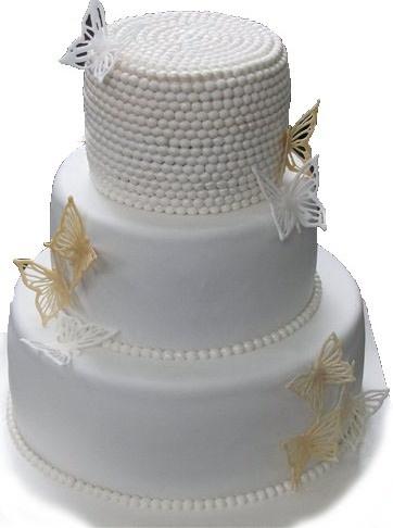 свадебный торт с жемчугом из мастики