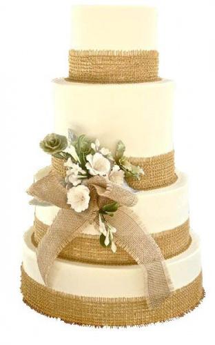 четыреъярусный свадебный торт в стиле прованс