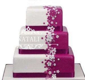 Свадебный торт цвета фуксии