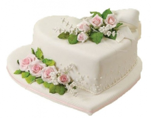 свадебный торт в форме сердца