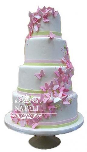 свадебный торт розово белый