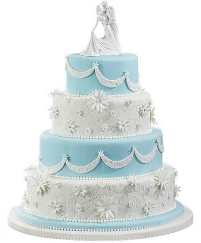 свадебный торт бело-голубой