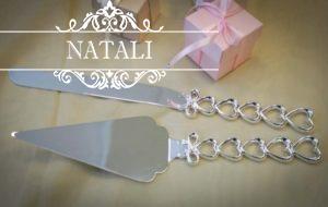Нож и лопатка для свадебного торта Сердечки