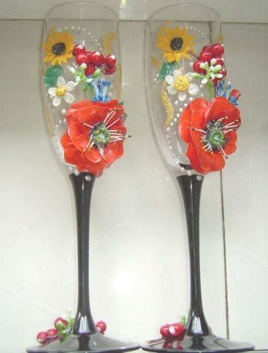 Свадебные бокалы в украинском стиле