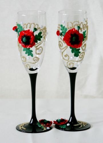 Свадебные бокалы с маками