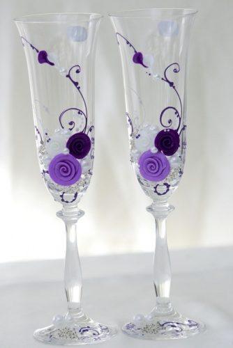 Свадебные бокалы с декором из полимерной глины
