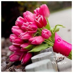 свадебный букет невесты из розовых тюльпанов