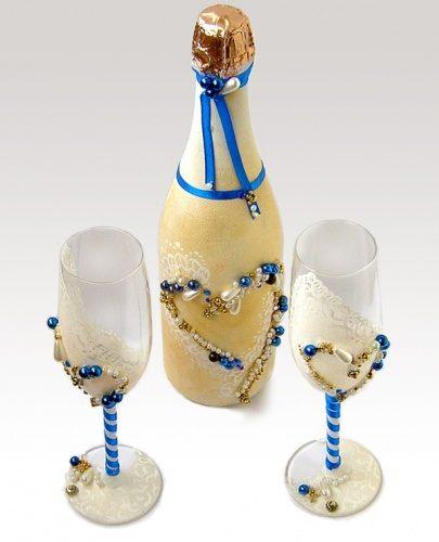 Свадебный комплект шампанское и бокалы
