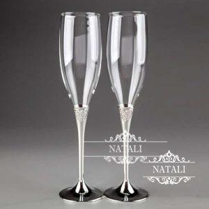Свадебные бокалы Кристальные сердца