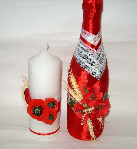 Свадебное шампанское и свеча в украинском стиле