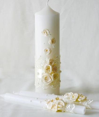 свадебные свечи в кремовом цвете обрядовые