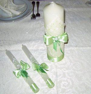 свечи на свадебный стол в оливковом цвете