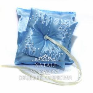 Голубая подушка для колец двойная