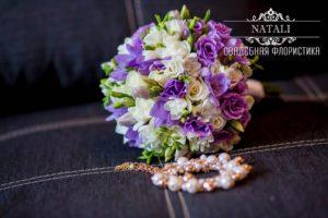 Свадебный букет в фиолетовом цвете