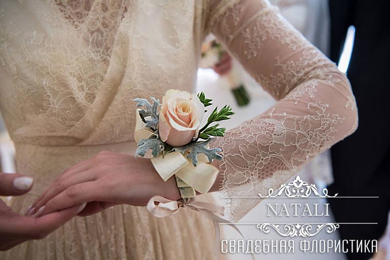 свадебный цеточный браслет на руку невесты