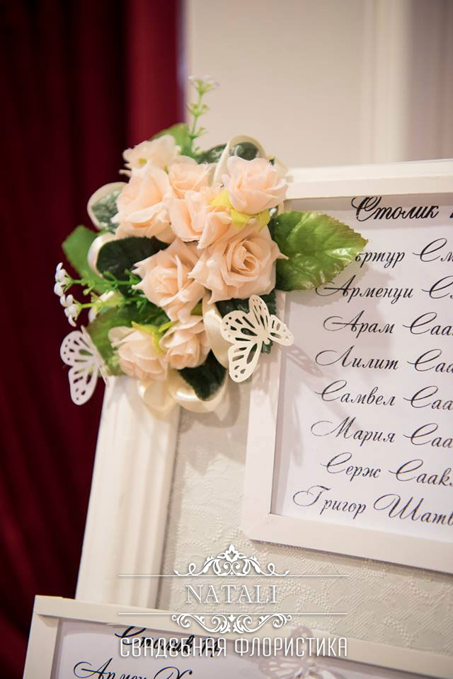 Рассадочная карта гостей со свадебным декором