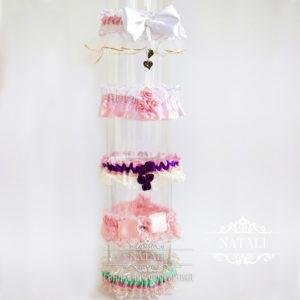 Свадебные подвязки в розовом цвете для невесты