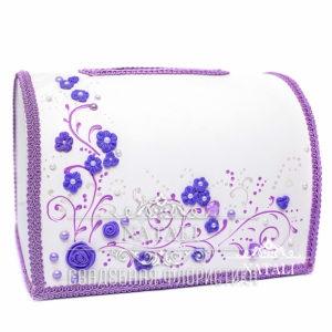 Белый сундучок для сбора денег с фиолетовыми цветами