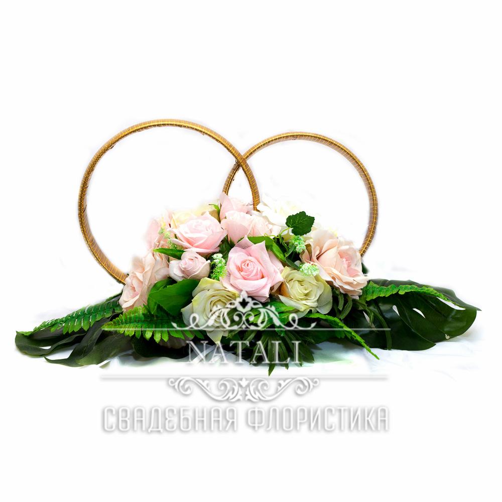 Композиция обручальные кольца с бутоньерками