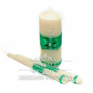 Свадебные свечи с зеленым бантом
