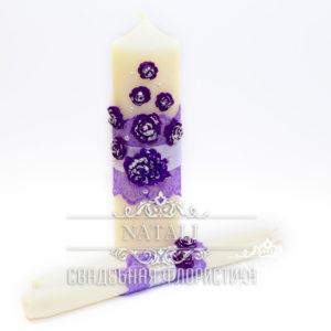 Свадебные свечи с фиолетовыми цветами