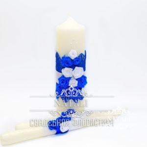 Свадебные свечи с синими и белыми цветами