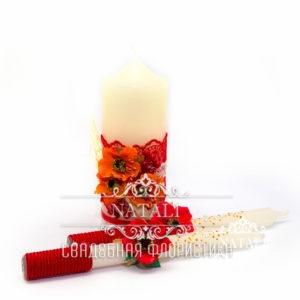Свадебные свечи с красными маками