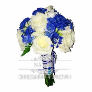 Свадебный букет из синей мелкой хризантемы