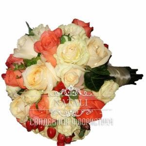 """Свадебный букет"""" Вау"""" из трех видов роз"""