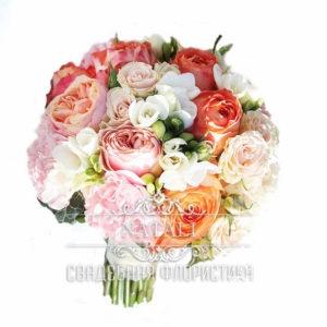 Свадебный букет Девид Остин розово-белый