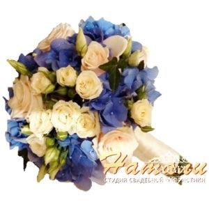 Свадебный букет с синей гортензии