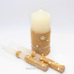 Набор венчальных свечей в этно стиле