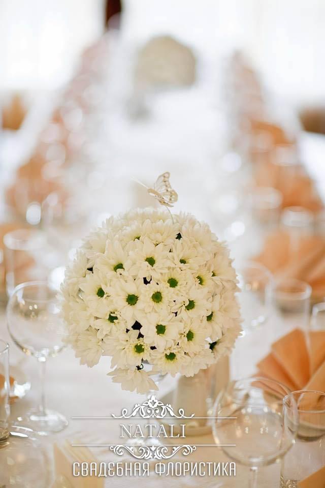свадебный декор из ромашек, ромашковой хризантемы