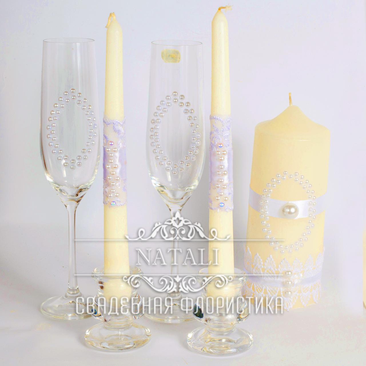 Свадебный набор с перламутровыми бусинами