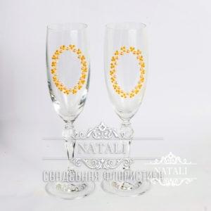 Свадебные бокалы роспись овал