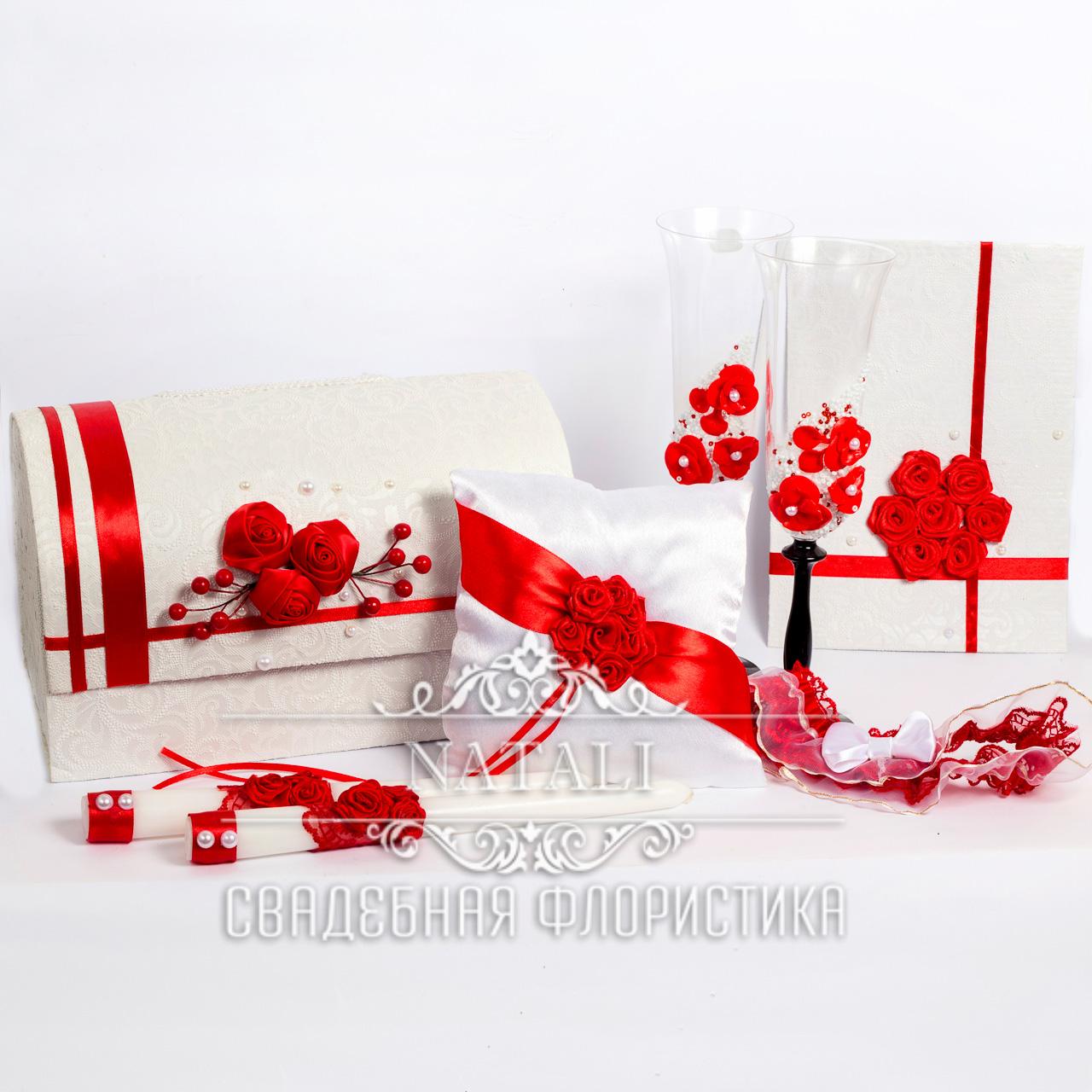 Свадебный набор аксессуаров в красном цвете