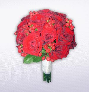 свадебный букет невесты из красных роз