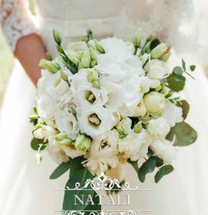Свадебный букет из белых эустом